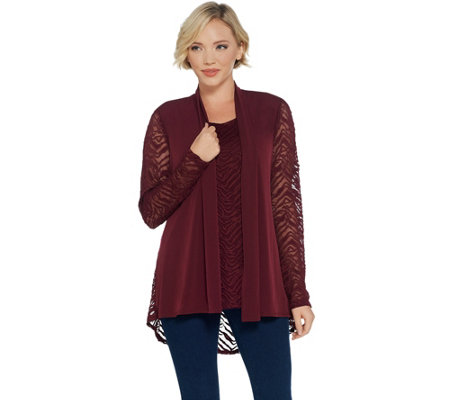 As Is Susan Graver Liquid Knit And Lace Cardigan And Tank Set