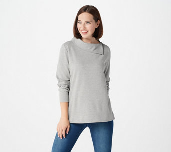 Martha Stewart Lurex Knit Top with Zip Shoulder Detail - A372031