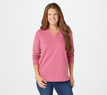 """As Is"" Denim & Co. Active French Terry Long-Sleeve V-Neck Tunic"