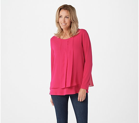 """As Is"" Susan Graver Liquid Knit Top with Chiffon Overlay"