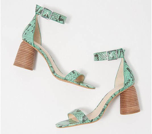 """As Is"" Vince Camuto Leather Two-Piece Heeled Sandals- Mejorla"