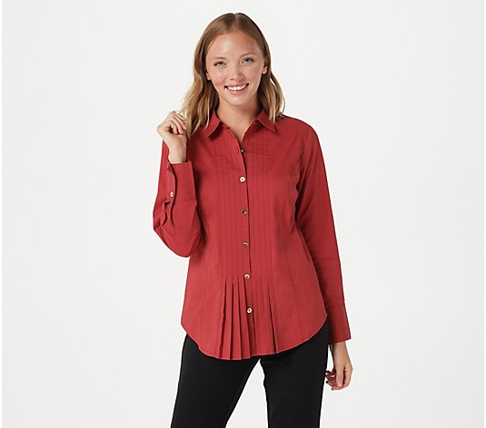 Joan Rivers Pleated Tuxedo Blouse with Long-Sleeves