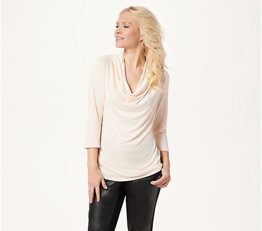 """As Is"" Lisa Rinna Collection 3/4 Sleeve CowlNeck Top"
