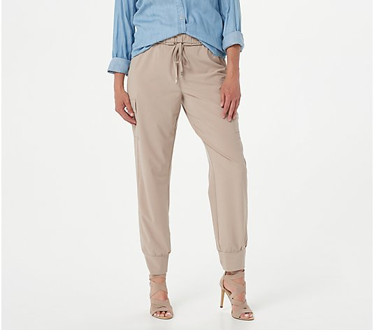 """As Is"" Susan Graver Weekend Regular Tech Woven Pull-On Jogger Pants"