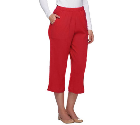 Denim & Co. Classic Waist Crinkle Gauze Capri Pants