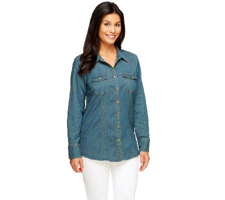 Denim & Co. Stretch Denim Long Sleeve Button Front Shirt