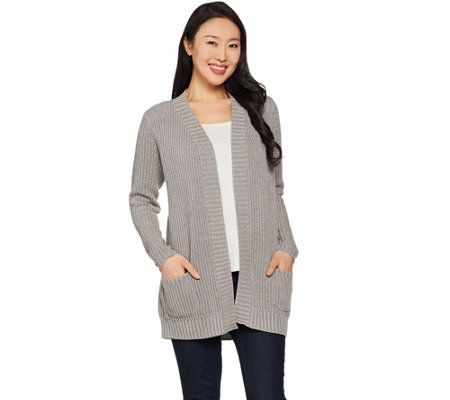 Susan Graver Cotton Acrylic Cardigan Sweater
