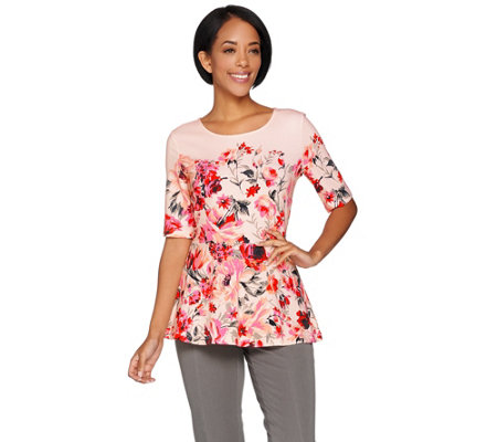 Isaac Mizrahi Live! Painterly Floral Print Elbow Sleeve Peplum Top