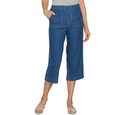 Studio by Denim & Co. Stretch Denim Wide Leg Gaucho Pants