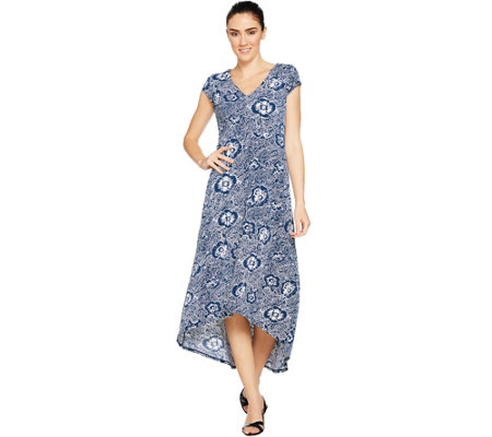 Kelly by Clinton Kelly Petite Printed Maxi Dress w/ Hi-Low Hem
