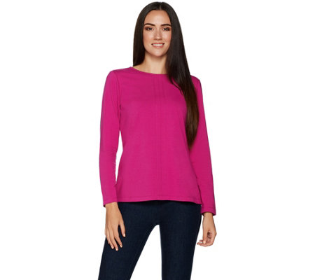 Denim & Co. Essentials Long Sleeve Crew Neck Knit Top