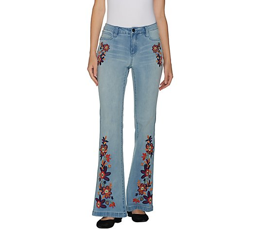 G.I.L.I. Regular Flare Leg Jean with Embroidery