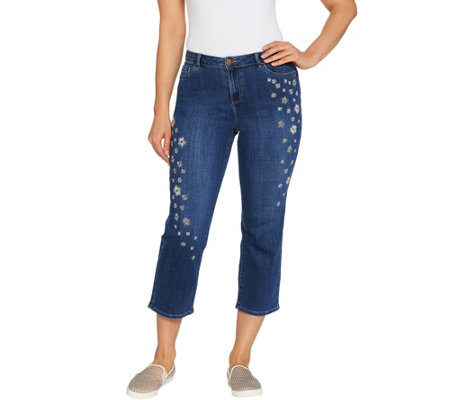 LOGO by Lori Goldstein Embroidered Boyfriend Crop Jeans