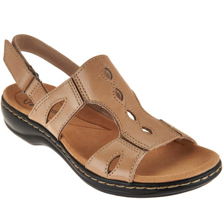 """As Is"" Clarks Leather Lightweight Sandals Leisa Lakelyn"