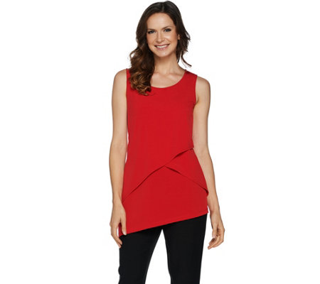 """As Is"" Susan Graver Liquid Knit Asymmetrical Tiered Tank"