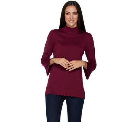 """As Is"" Isaac Mizrahi Live! Mock Neck Sweater with Scallop Sleeves"