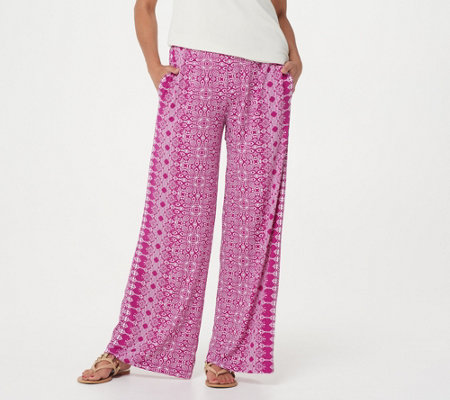 Attitudes by Renee Petite Como Jersey Printed Wide Leg Pants