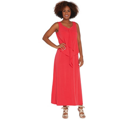 Susan Graver Regular Liquid Knit Tiered Maxi Dress