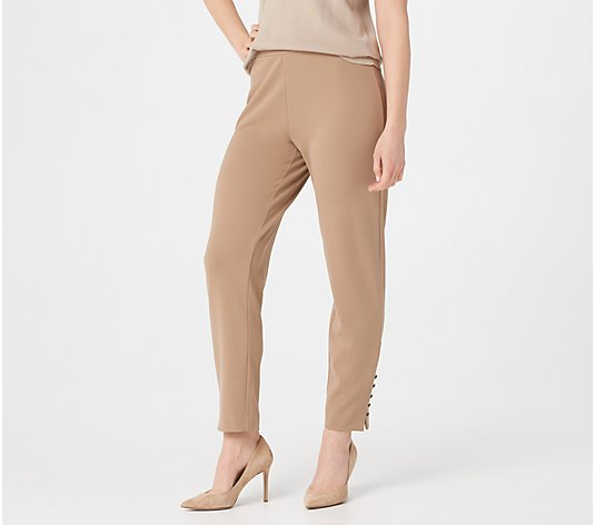 Dennis Basso Luxe Crepe Slim-Leg Pull-On Ankle Pants
