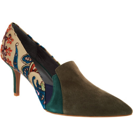 """As Is"" Lori Goldstein Collection Novelty Pumps w/Goring Detail"