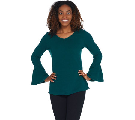 Belle by Kim Gravel Stretch Fleece V-Neck Bell Sleeve Top