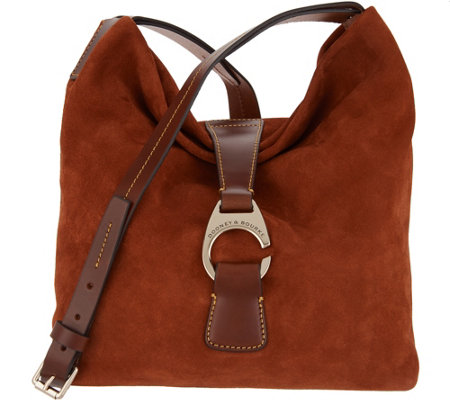 Dooney & Bourke Suede Leather Derby Crossbody Hobo Handbag