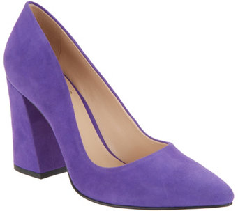 Vince Camuto Suede Pointy Toe Block Heel Pumps Talise A310632