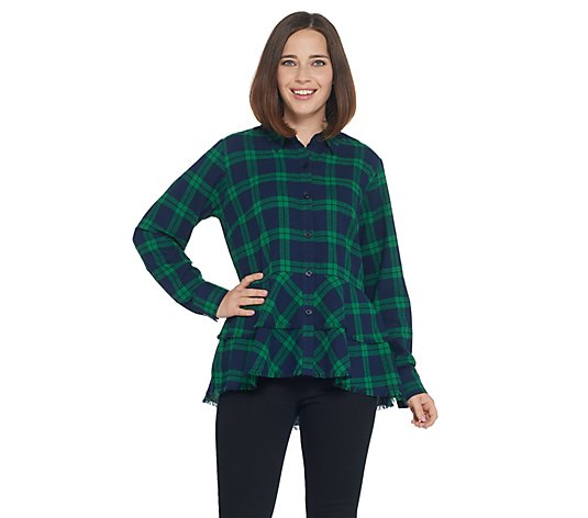Joan Rivers Plaid Peplum Shirt with Fringe Hem