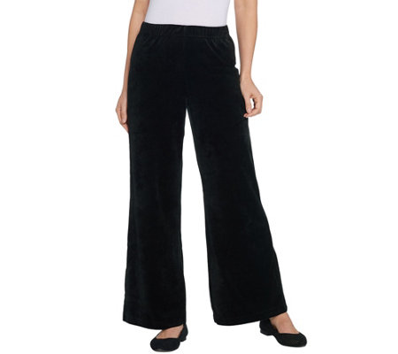 Quacker Factory Pull-On Wide Leg Velour Pants