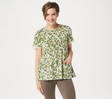 Logo By Lori Goldstein Printed Cotton Modal Top With Sleeve Detail