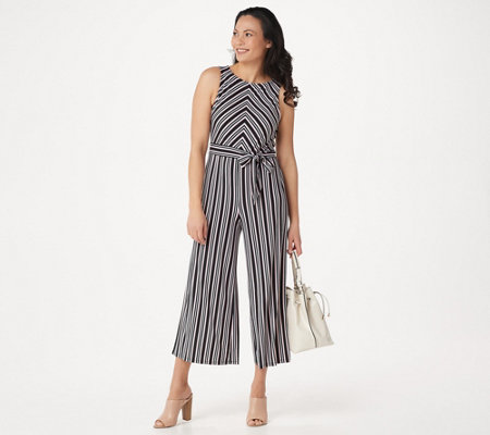 Du Jour Regular Stripe Printed Wide Leg Crop Jumpsuit