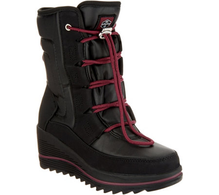 As Is Khombu Waterproof Lace Up Wedge Winter Boots Whitecap