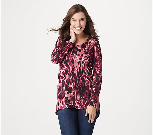 Susan Graver Weekend Printed Cozy Jersey Tunic