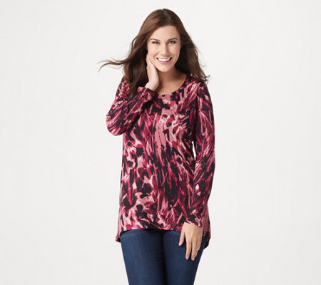 Susan Graver Weekend Printed Rayon Jersey Knit Tunic