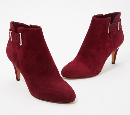 Vince Camuto Leather or Suede Booties w/ Strap Detail - Vinisha