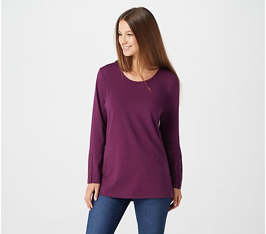 Denim & Co. Essentials Perfect Jersey Long-Sleeve Tunic w/ Cuff