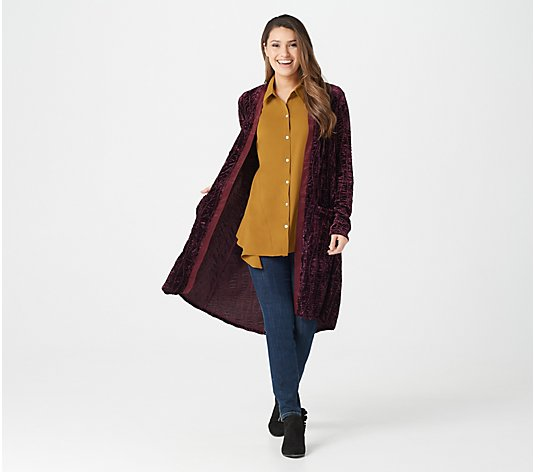 LOGO Lavish by Lori Goldstein Textured Velvet Duster