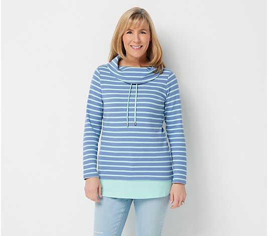 Denim & Co. Petite Striped Waffle Knit Tunic with Solid Trim