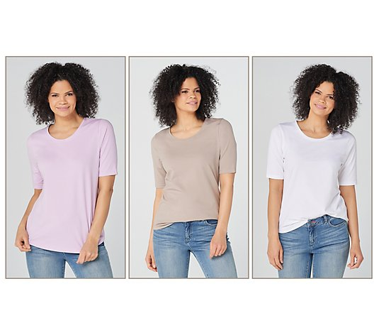 Denim & Co. Essentials AnyWear Jersey Tops - Set of 3