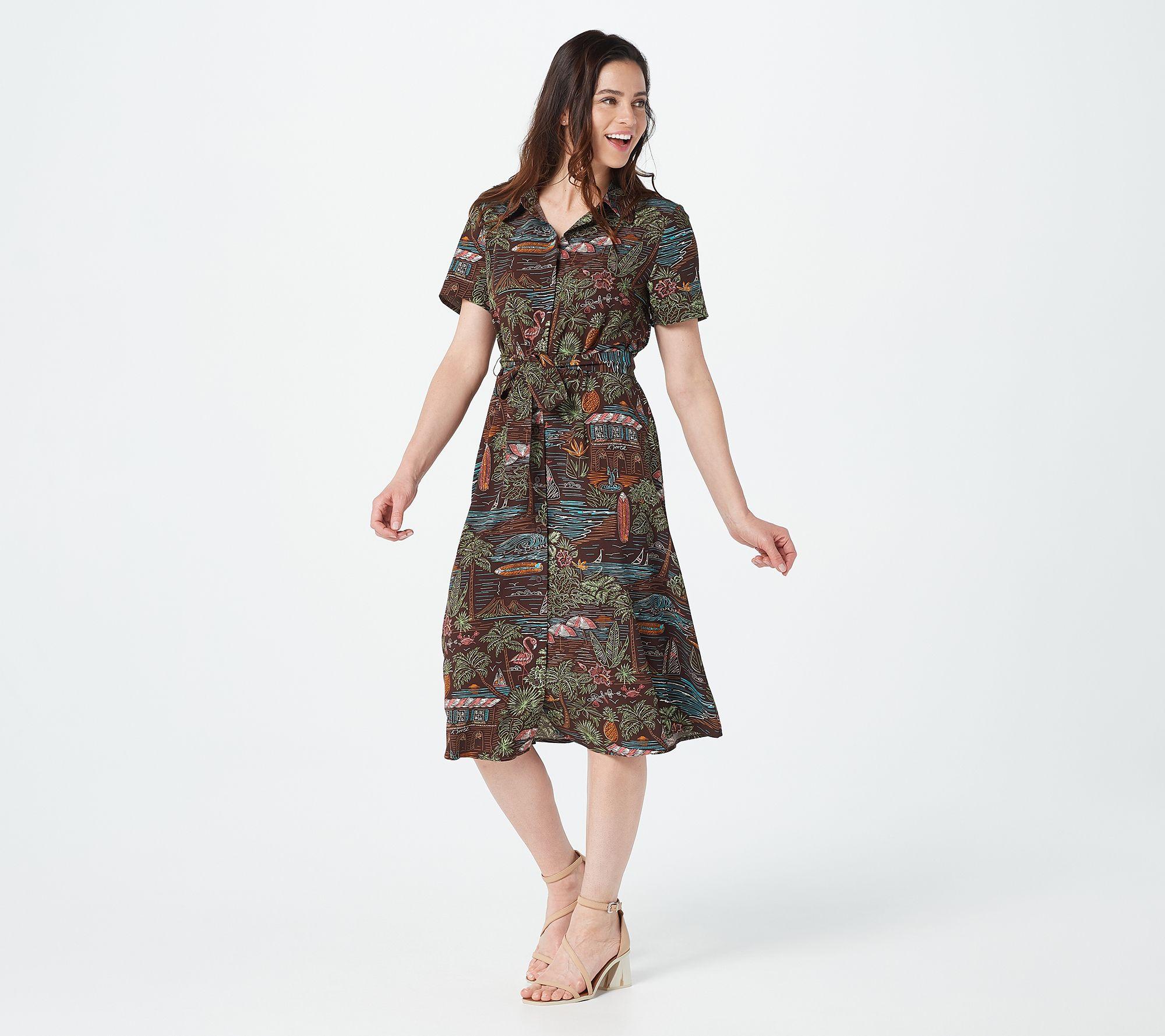 Denim & Co. Printed Midi Shirt Dress - QVC.com