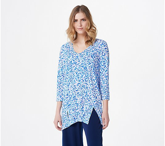 Susan Graver Printed Liquid Knit Tunic with Slits