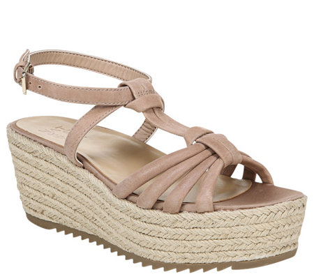 Naturalizer Leather Strappy Espadrille Wedges -Odina