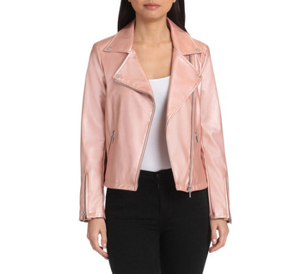 Bagatelle Collection Pearlized Faux-Leather Biker Jacket