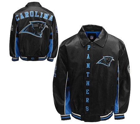 NFL Carolina Panthers Faux Leather Jacket — QVC.com 9e904f683