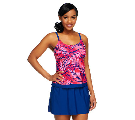 Ocean Dream Signature Palm Faux Layered Tankini with Skirt