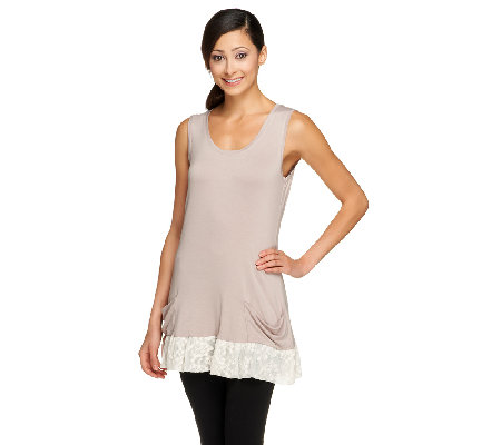 LOGO by Lori Goldstein Knit Tank with Lace Trim