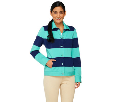 Isaac Mizrahi Live! Striped Button Front Knit Jacket