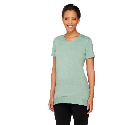 LOGO Lounge by Lori Goldstein French Terry Top with Back Zipper