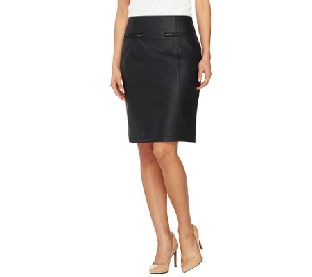 Dennis Basso Fully Lined Faux Leather Skirt with Zipper Pockets