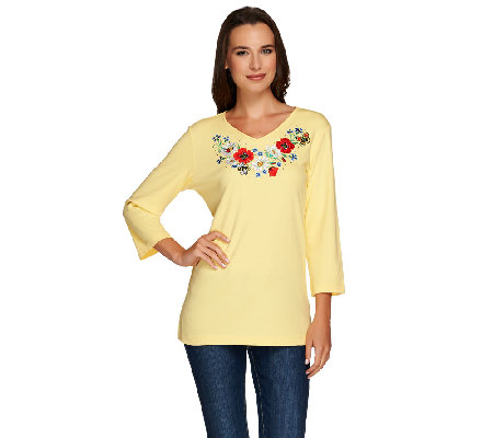 Quacker Factory Embroidered Floral V-Neck 3/4 Sleeve T-shirt